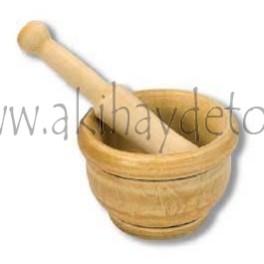 Mortero madera con maza