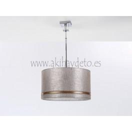 Lámpara suspendida 1 cubo cristal c/pantalla beige