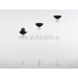 Portavela vidrio negro