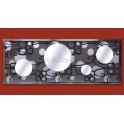 Espejo de pared modelo 4 círculos fondo floral/círculos grises