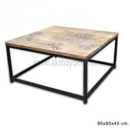 Mesa cuadrada café madera fundición