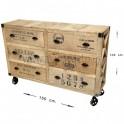 Mueble aparador 6 cajones madera natural c/ruedas