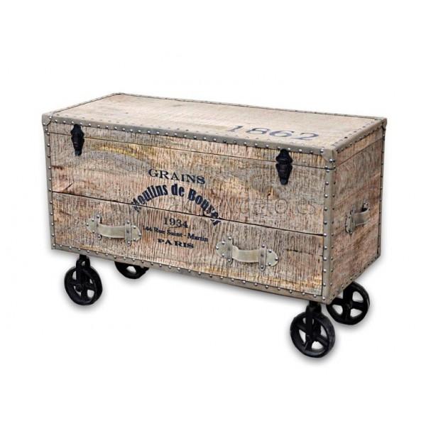 Ba l madera c ruedas fundici n grains - Baules con ruedas ...