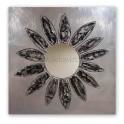 Espejo de pared cuadrado modelo flor plata/negro