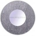 Espejo de pared redondo acabado rugoso gris plata