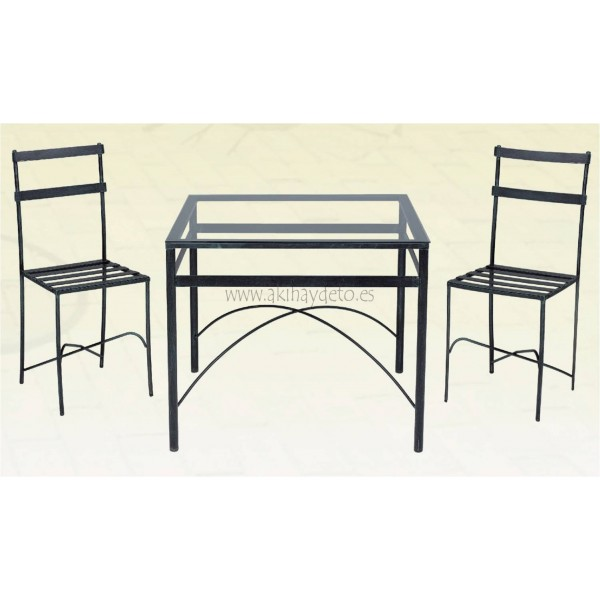 Conj mesa cuadrada 2 sillas jard n forja c cristal for Sillas de forja para jardin