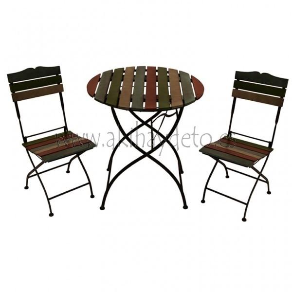 Conj. mesa   2 sillas forja madera colores