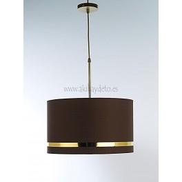 Lámpara de techo c/pantalla marrón chocolate franja oro