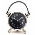 Reloj sobremesa redondo metal cromado asa piel