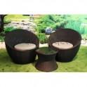 Conjunto mesa + 2 sillones Fibra Sintética