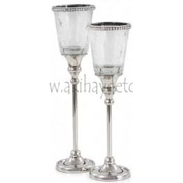 Candelabro Aluminio/Vidrio/Cristal