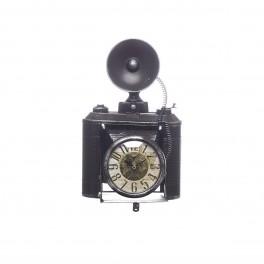 Reloj de mesa, máquina fotográfica