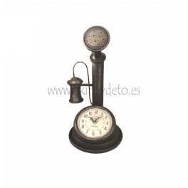 Reloj de mesa, teléfono